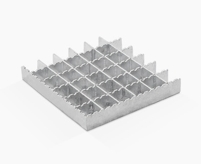 Pressed grating with different strips and half moon serrations on separator bars