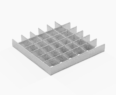 Pressed grating with equal strips and continuous serrations
