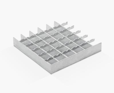 Rejilla prensada de flejes diferentes con dentado ondulado en separadora