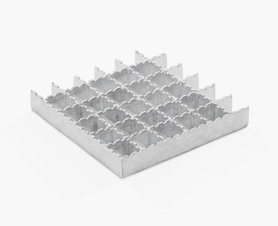 Gradil prensado com barras iguais com serrilhado tipo ondulado