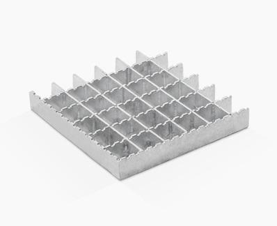 Rejilla prensada de flejes iguales con dentado ondulado en separadora
